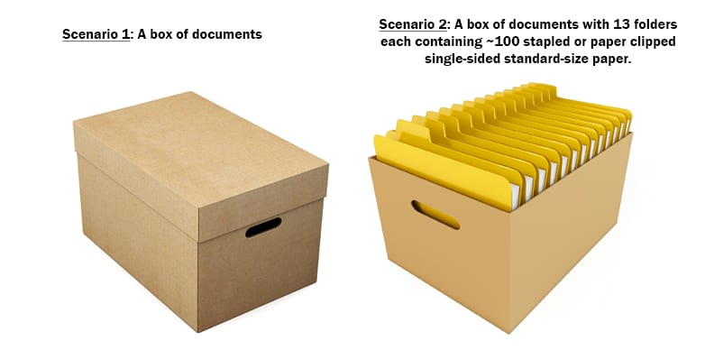 Scenario 1: A covered box of documents. | Scenario 2: A box of documents with 13 folders each containing ~100 stapled or paper clipped single-sided standard-size paper.